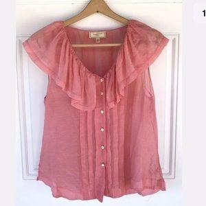 Moulinette soeurs Women's 10 pink silk ruffle top